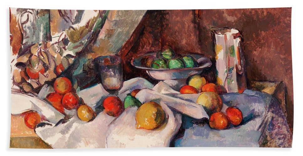 Still Life Bath Sheet featuring the painting Still Life With Apples by Paul Cezanne
