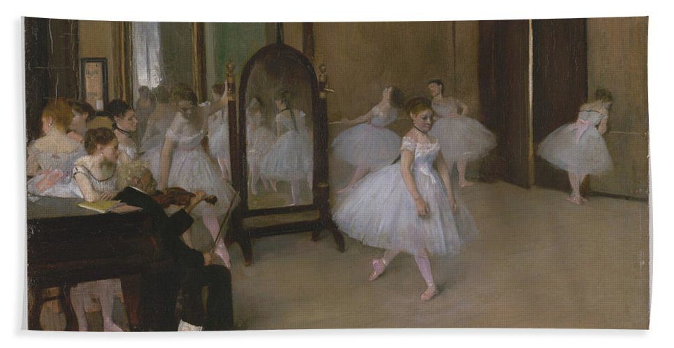The Dancing Class Bath Sheet featuring the painting The Dancing Class by Edgar Degas