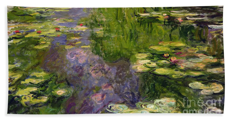 Nympheas; Water; Lily; Waterlily; Impressionist; Green; Purple Bath Towel featuring the painting Waterlilies by Claude Monet