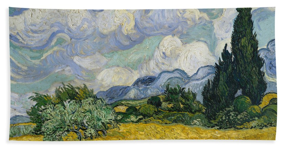 Clouds Hand Towel featuring the painting Wheat Field With Cypresses by Vincent van Gogh