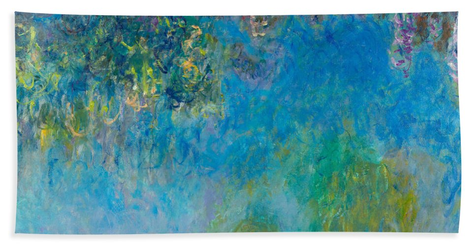 Claude Monet Hand Towel featuring the painting Wisteria by Claude Monet