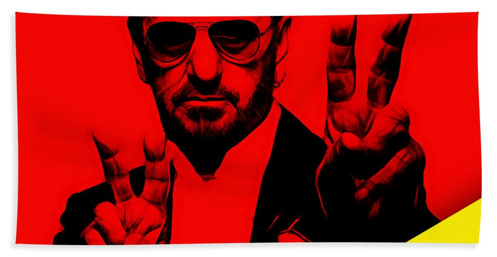 Ringo Starr Bath Towel featuring the mixed media Ringo Starr Collection by Marvin Blaine