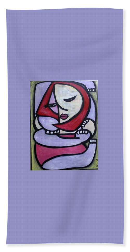 Abstact Hand Towel featuring the painting Hugs by Thomas Valentine