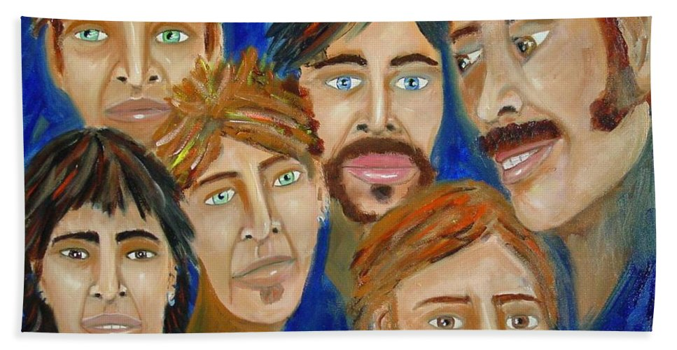 Portrait Bath Towel featuring the painting 70s Band Reunion by Laurie Morgan