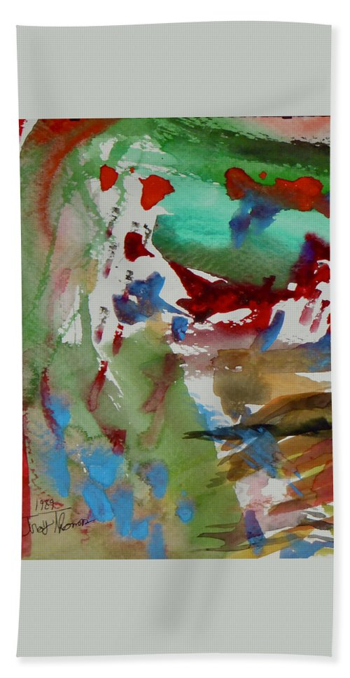 Abstract Modern Art Hand Towel featuring the painting Untitled Abstract by Troy Thomas
