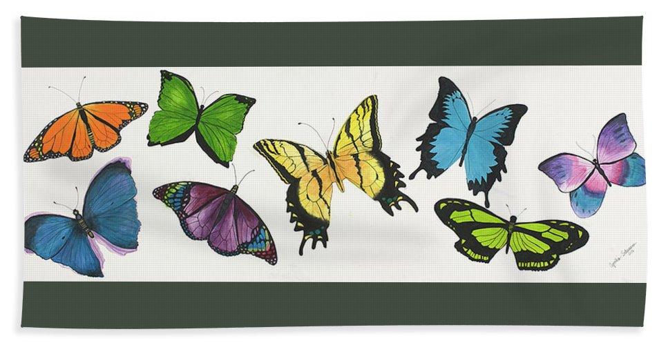 Butterflies Bath Towel featuring the painting 8 Butterflies by Cynthia Schumann