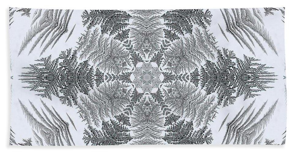 Mccombie Hand Towel featuring the digital art Fern Frost Mandala by J McCombie