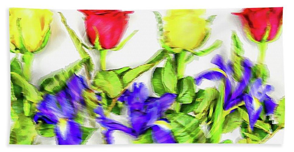 Assorted Hand Towel featuring the digital art Flower Frame Border by Robert Chlopas