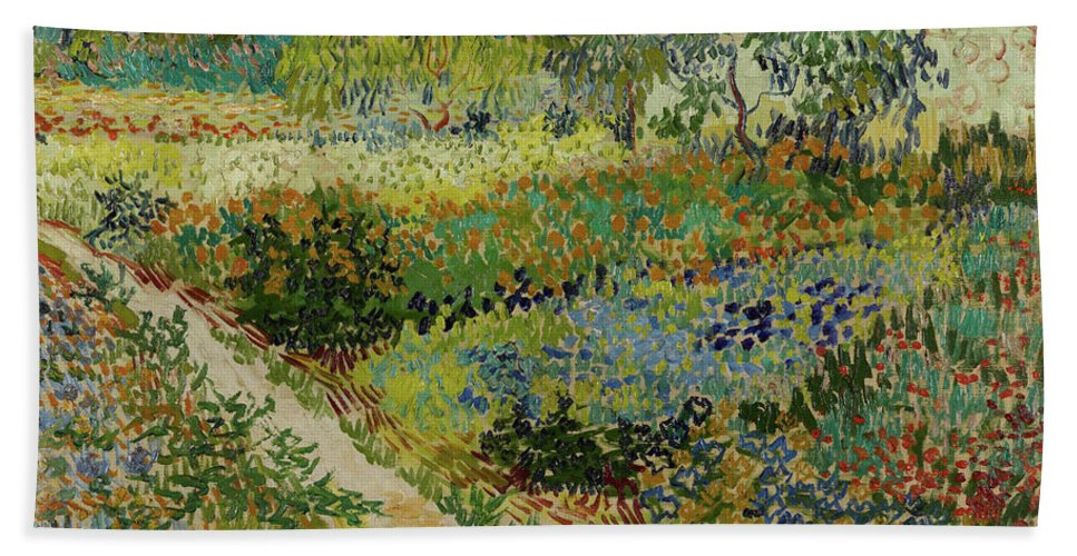 Vincent Van Gogh Bath Sheet featuring the painting Garden At Arles by Vincent van Gogh