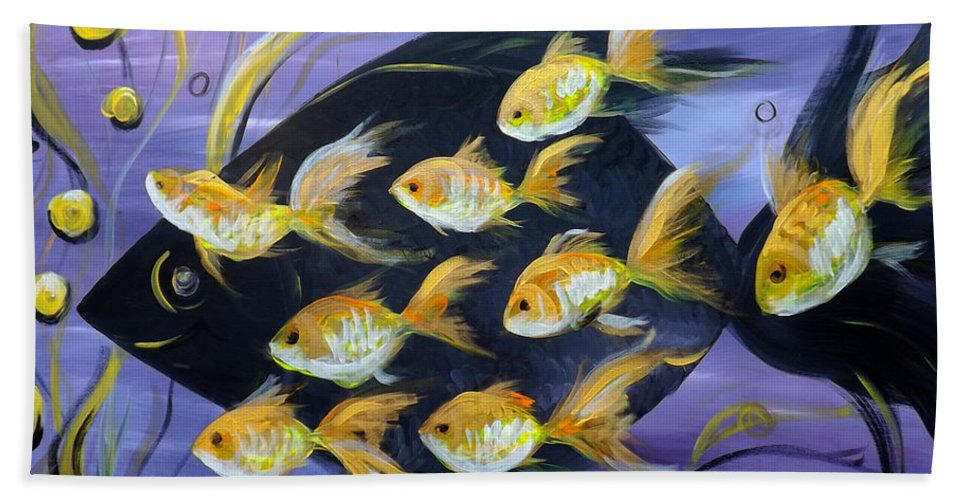 Fish Bath Sheet featuring the painting 8 Gold Fish by Gina De Gorna