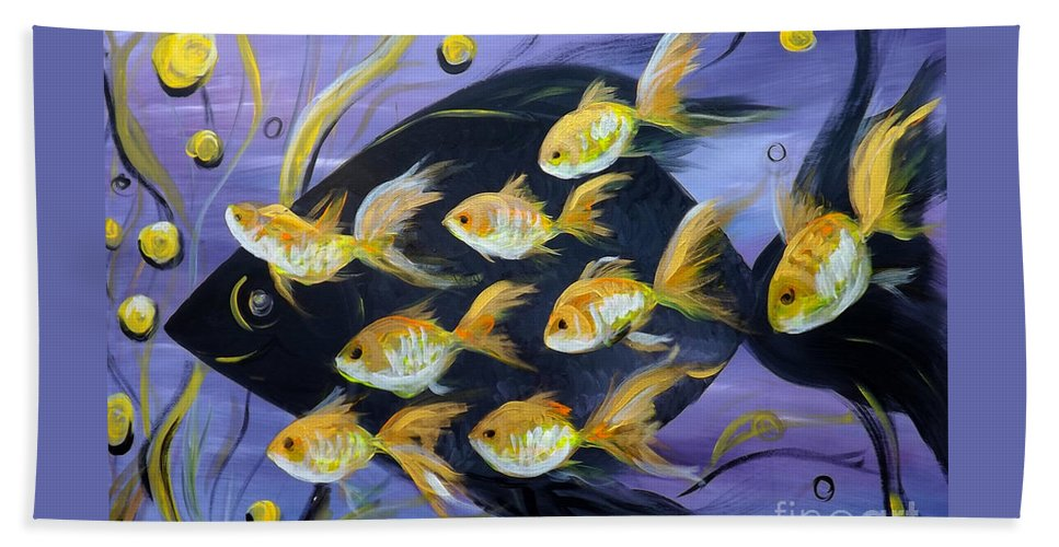 Fish Hand Towel featuring the painting 8 Gold Fish by Gina De Gorna