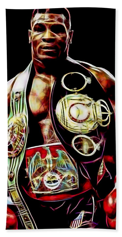 Mike Tyson Hand Towel featuring the mixed media Mike Tyson Collection by Marvin Blaine