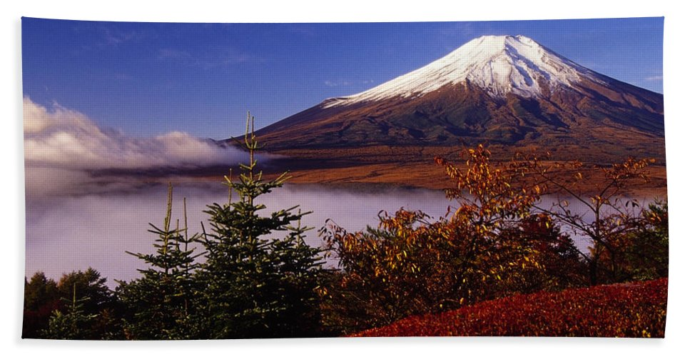 Japan Hand Towel featuring the photograph Mount Fuji In Autumn by Michele Burgess