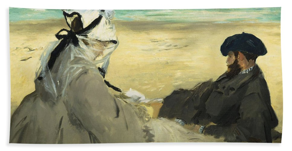 Beach Hand Towel featuring the painting On The Beach by Edouard Manet