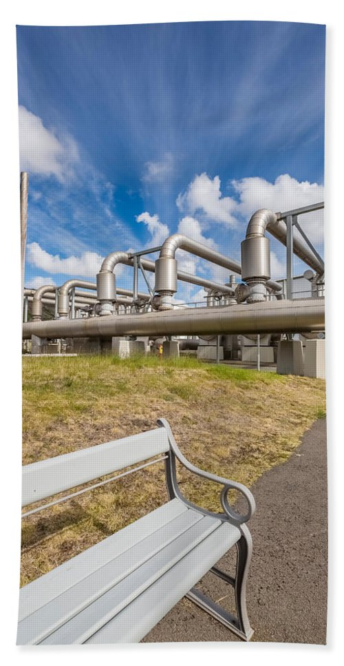 Photography Bath Sheet featuring the photograph Pipes At Nesjavellir Geothermal Power by Panoramic Images
