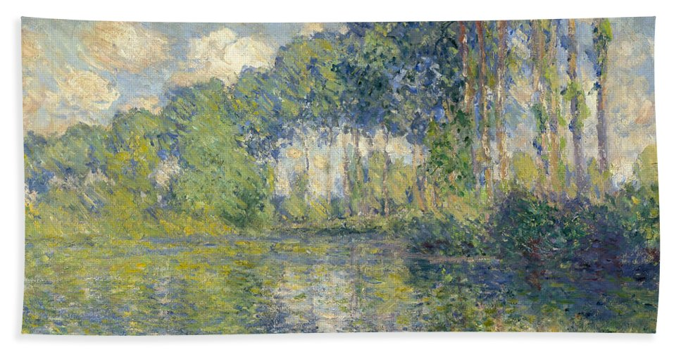 Claude Monet Hand Towel featuring the painting Poplars, On The Epte by Claude Monet