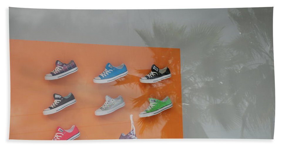 Orange Bath Sheet featuring the photograph 8 Sneakers by Rob Hans