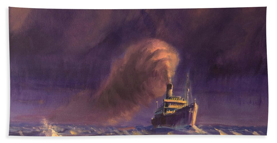 Ship Hand Towel featuring the painting 8000 Miles From Home by Christopher Jenkins