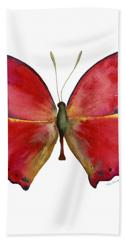 Red Butterfly Bath Towel featuring the painting 83 Red Glider Butterfly by Amy Kirkpatrick