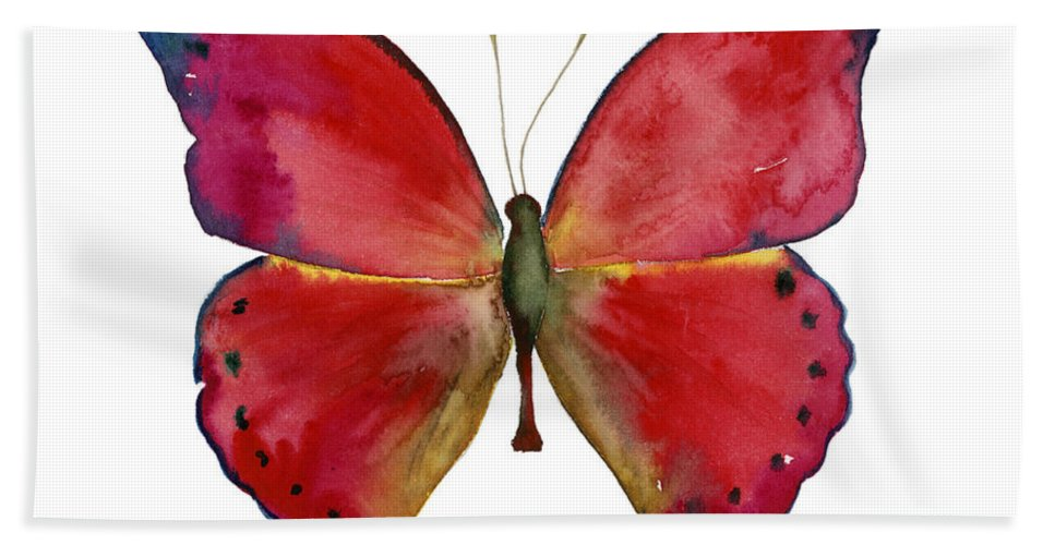 Red Butterfly Hand Towel featuring the painting 83 Red Glider Butterfly by Amy Kirkpatrick