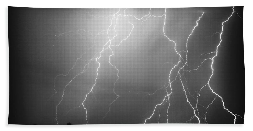 Lightning Hand Towel featuring the photograph 85255 Black And White by James BO Insogna