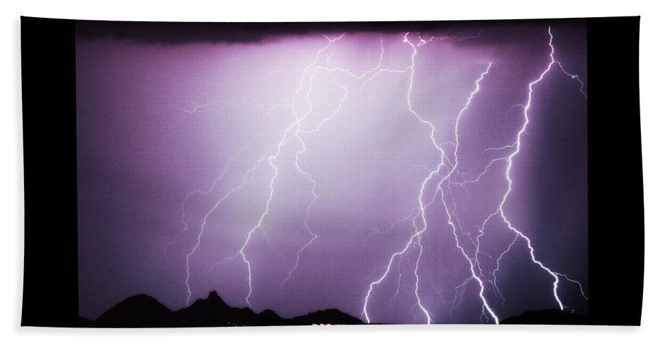 Lightning Hand Towel featuring the photograph 85255 Fine Art Arizona Lightning Photo Poster by James BO Insogna