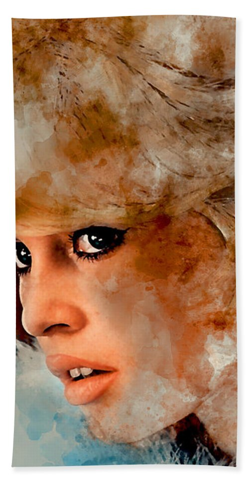 Brigitte Bardot Hand Towel featuring the mixed media Brigitte Bardot by Marvin Blaine