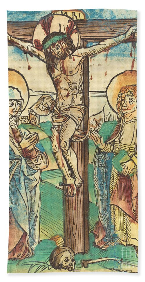 Hand Towel featuring the drawing Christ On The Cross by German 15th Century