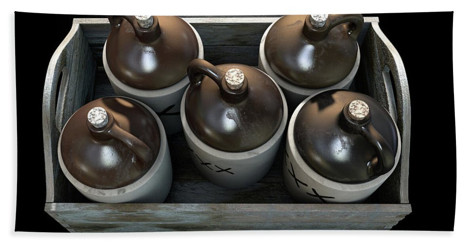 Jug Hand Towel featuring the digital art Moonshine In Wooden Crate by Allan Swart