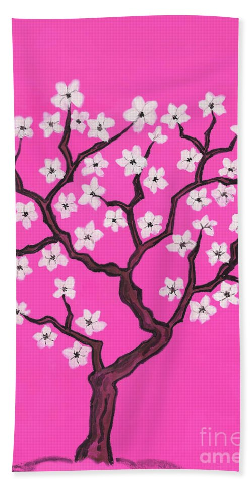 Art Bath Sheet featuring the painting Spring Tree In Blossom, Painting by Irina Afonskaya
