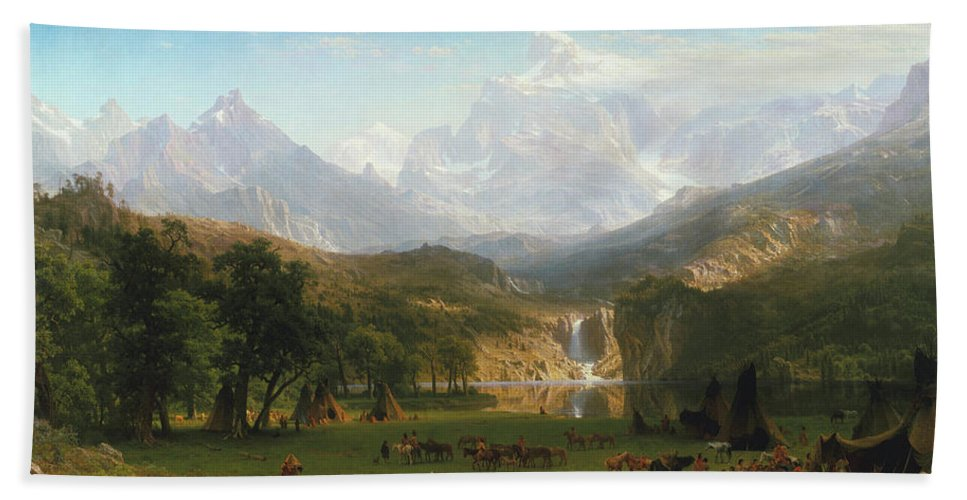 The Rocky Mountains Bath Sheet featuring the painting The Rocky Mountains by Albert Bierstadt