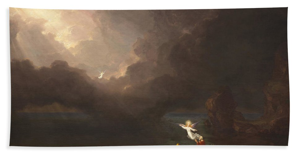 Thomas Cole Bath Sheet featuring the painting The Voyage Of Life Old Age by Thomas Cole