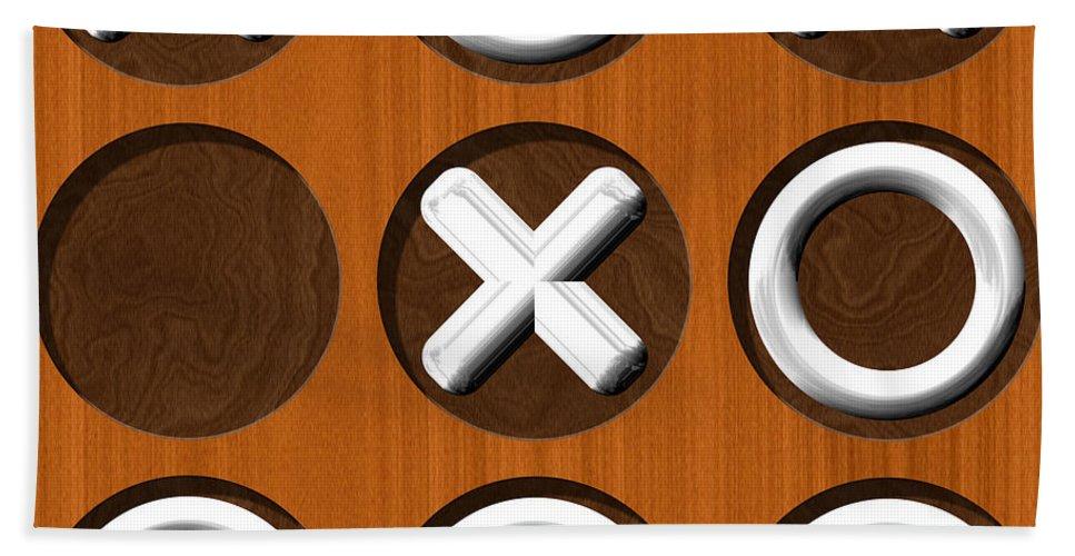 Tic Hand Towel featuring the digital art Tic Tac Toe Wooden Board Generated Seamless Texture by Miroslav Nemecek