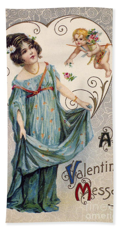1915 Hand Towel featuring the photograph Valentines Day Card by Granger
