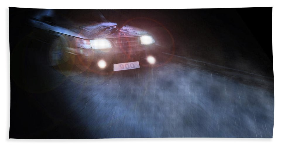 Saab Hand Towel featuring the photograph 900 In The Rain by Brainwave Pictures
