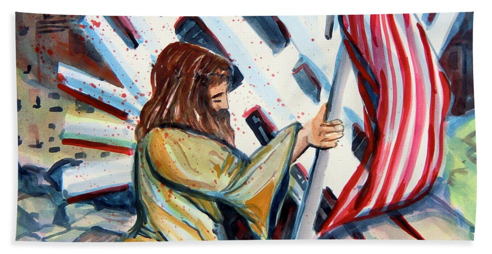 911 Hand Towel featuring the painting 911 Cries For Jesus by Mindy Newman