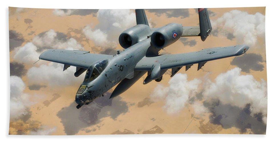 A-10 Thunderbolt Bath Sheet featuring the photograph A-10 Thunderbolt Warthog by Mountain Dreams