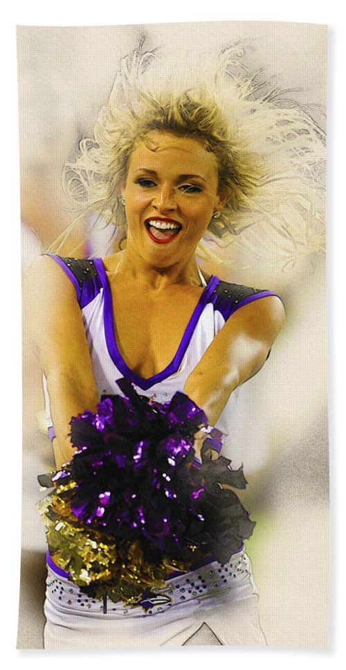 Decorative Bath Sheet featuring the digital art A Baltimore Ravens Cheerleader by Don Kuing