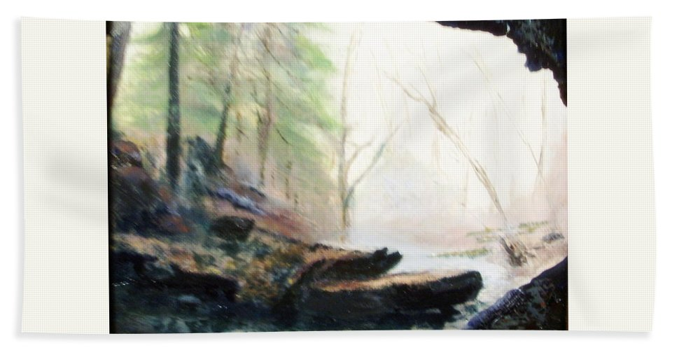 Cave Hand Towel featuring the painting A Bears View by Gail Kirtz