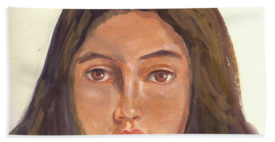 A Young Indian Girl Hand Towel featuring the painting A Beautiful Girl by Asha Sudhaker Shenoy