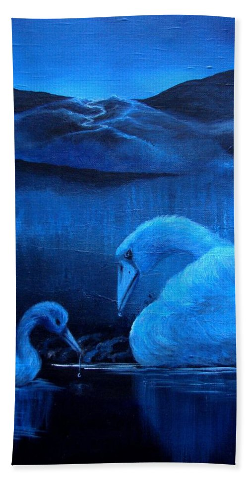 Hand Towel featuring the painting A Beautiful Night by Glory Fraulein Wolfe