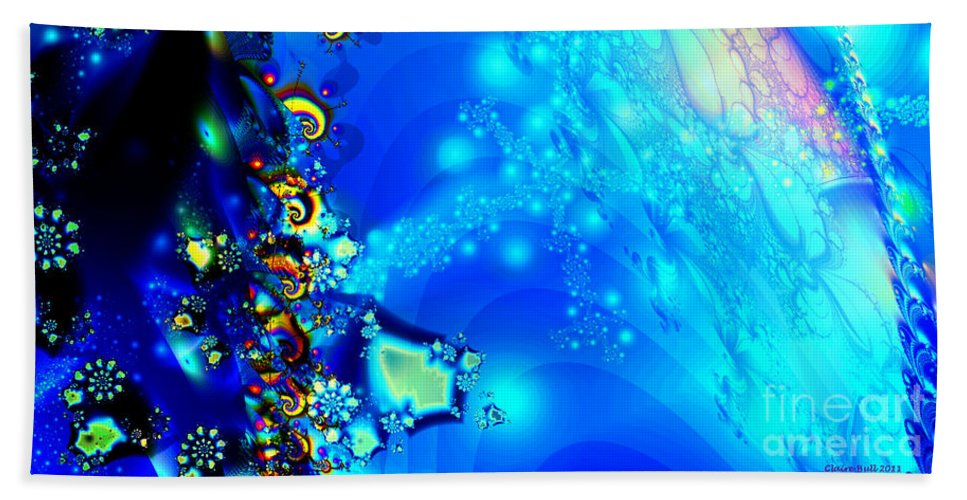 Vivid Blue Hand Towel featuring the digital art A Beautiful World by Claire Bull
