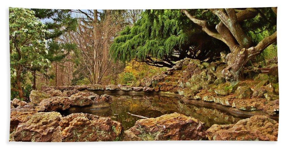 Japanese Gardens Bath Sheet featuring the photograph A Better Place - Deep Cut Gardens by Angie Tirado