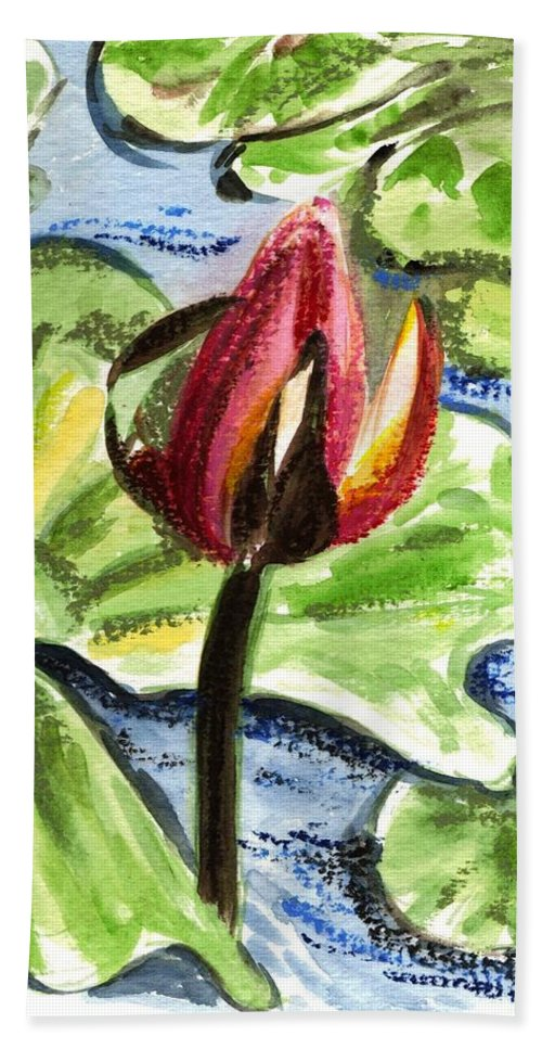 Water Lilies Hand Towel featuring the painting A Birth Of A Life by Harsh Malik