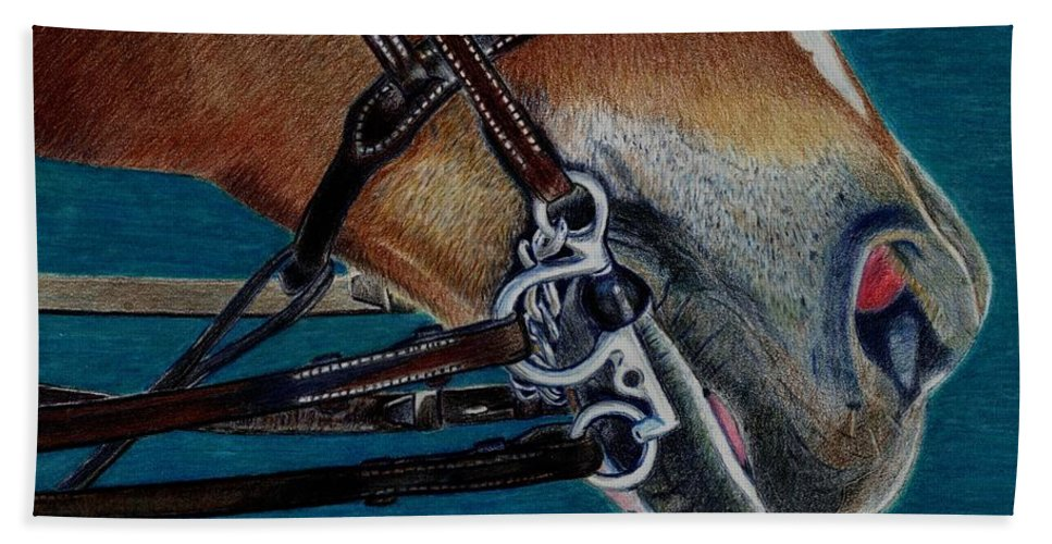 Art+prints Bath Sheet featuring the painting A Bit Of Control - Horse Bridle Painting by Patricia Barmatz