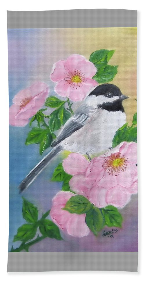 Black-capped Chickadee Hand Towel featuring the painting A Blackcapped Chickadee And Roses by Sandra Maddox