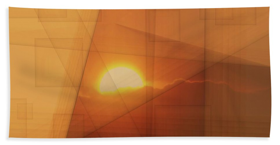 Abstract Bath Sheet featuring the photograph A Blended Sunset  by Jeff Swan