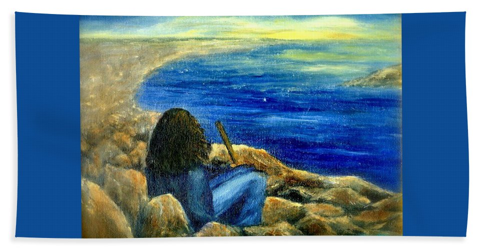 Figure Hand Towel featuring the painting A Blue Day by Gail Kirtz