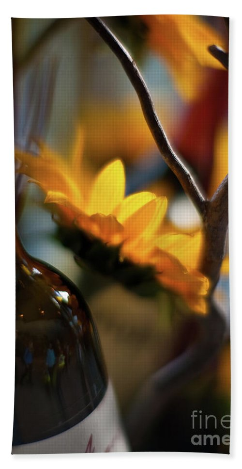 Abstract Bath Sheet featuring the photograph A Bottle And Sunflowers by Mike Reid