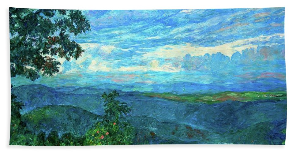 Mountains Hand Towel featuring the painting A Break In The Clouds by Kendall Kessler